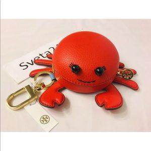 Tory Burch NWT Crab Pouch Key Fob Coin Purse AUTH